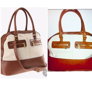 H&M Brown and Off White Zipper Satchel Purse